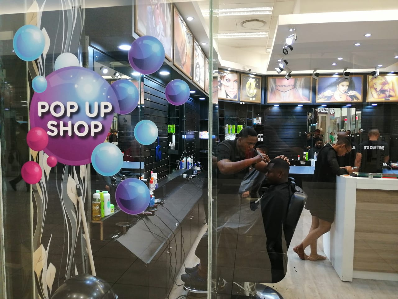 Barber Pop-Up store in busy Eastpoint mall in Johannesburg