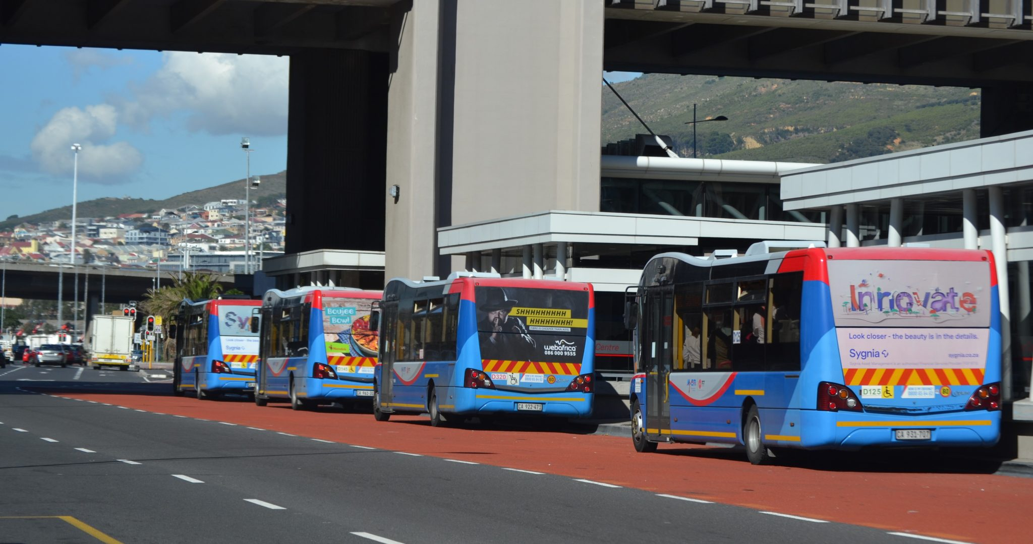 Branded MyCiTi buses in Cape Town